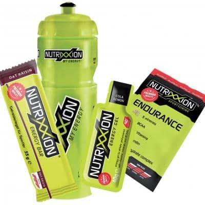 Nutrixxion Set Trinkflasche (750 ml) + Energy Bar (55 g) + Energy Gel (40 g) + Endurance Drink (35 g)